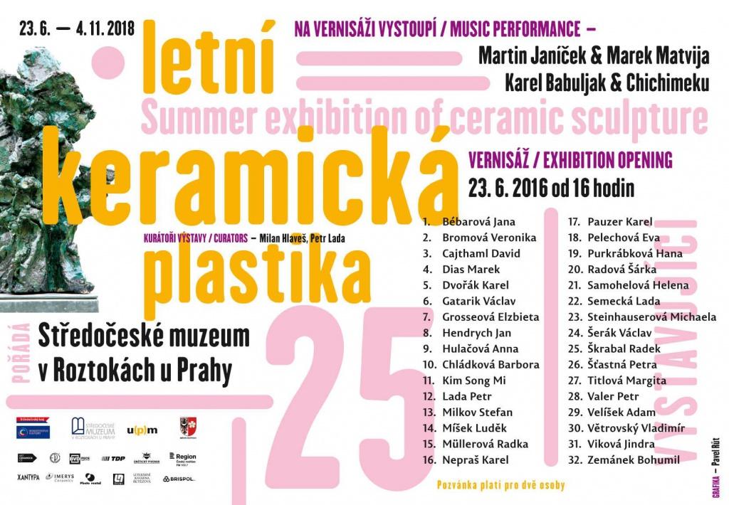 Letní keramická plastika ve Středočeském muzeum v Roztokách u Prahy. Vernisáž 23.6. 2018